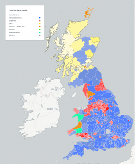 Electoral map showing YouGov predictions